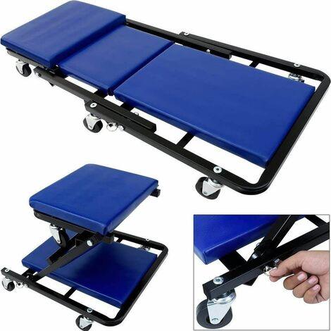 Varan Motors - BS400001 Chariot de visite 2 en 1 à 6 roulettes, transformable en tabouret d'atelier, supporte jusqu'à 150kg - Bleu