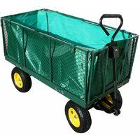 Varan Motors Carretto da Giardino XXL, rimorchio, carrello a mano con sponde ribaltabile 600Kg + telone interno