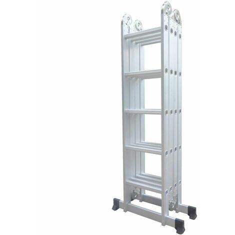 Varan Motors - DLM105 Escalera, escalera plegable, andamio multiuso de aluminio de 5.92m, 20 escalones