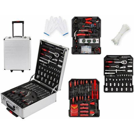 Varan Motors - HMTB006 Coffret à outils, trolley à outils, Boîte à outils 4 plateaux, 36x21x50cm, 969 pièces - Gris