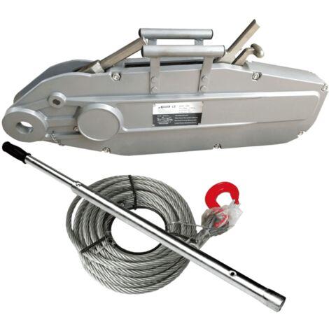 Varan Motors - hoh5400 Tire-fort, tire-câble manuel, treuil de halage à levier 5400Kg + câble 20 mètres ø20mm - Gris