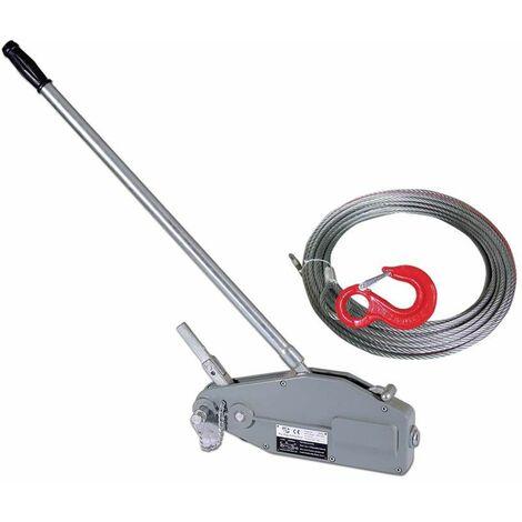 Varan Motors - hoh800 Tire-fort, tire-câble manuel, treuil de halage à levier 800Kg + câble 20 mètres ø8.3mm - Gris