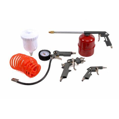 Varan Motors - L-2000A11 Kit de herramientas neumáticas de 5 piezas, pistola de soplado, pistola de aire comprimido, inflador, bureta, manguera
