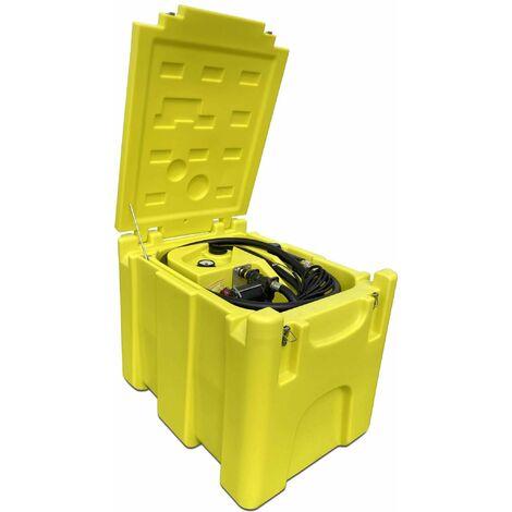 Varan Motors - NEDLP-32 Depósito de combustible transportable de 200 litros con bomba de transferencia 12v 3300l/min, depósito de transporte con pistola dispensadora de gasoil y aceite, dispensador nómada - Amarillo