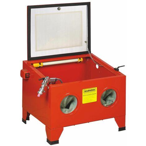 Varan Motors - NESB-09 Cabine de sablage - microbilleuse - sableuse à manchons 90 litres avec Accessoires - Rouge