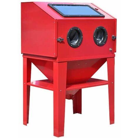 Varan Motors - NESB-11 Cabine de sablage, microbilleuse, sableuse à manchons 420 litres avec Accessoires - Rouge