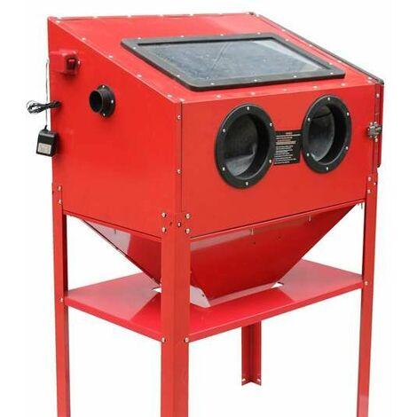 Varan Motors - NESB-16D Cabine de sablage, microbilleuse, sableuse à manchons professionnelle 220 litres avec Accessoires - Rouge