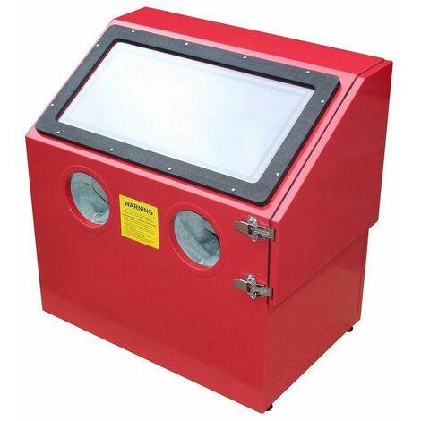 Varan Motors - NESB-24 Cabine de sablage, microbilleuse, sableuse à manchons 110 litres avec éclairage et Accessoires - Rouge