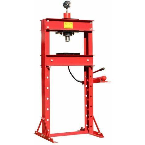 Varan Motors - NESPG-30-2 Presse d'atelier hydraulique 30 Tonnes avec manomètre - Rouge