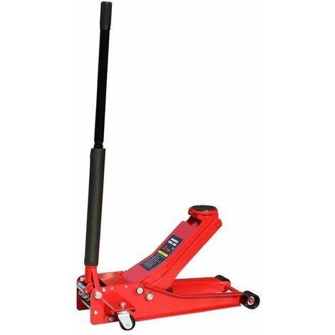 Varan Motors - NEUFJ-03 Cric hydraulique roulant extra plat 3 tonnes 75-505mm - Rouge