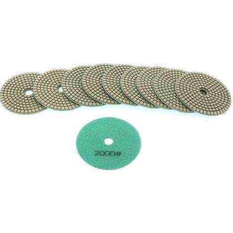 Varan Motors - NEWGP-01-8 10pcs pads diamant 100mm grain 2000 pour polissage à l'eau, polisseuse à l'eau - Grün
