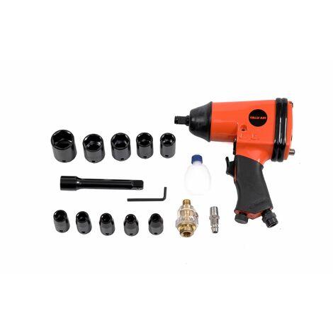 Varan Motors - RP7808 Coffret Clé à chocs Pneumatique 1/2'' 310Nm, 17 pièces, Visseuse Pneumatique - Orange