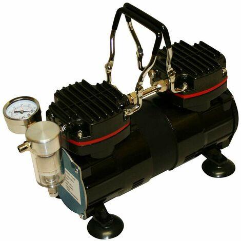 Varan Motors - TC-99 Pompe à vide / Pompe à Aspiration Bi-cylindre 1/3HP avec manomètre - Noir