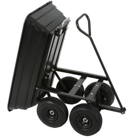 Varan Motors - TC1801 Garden trolley with tipper skip, Transport trolley with skip trailer, Max Load 250Kg.