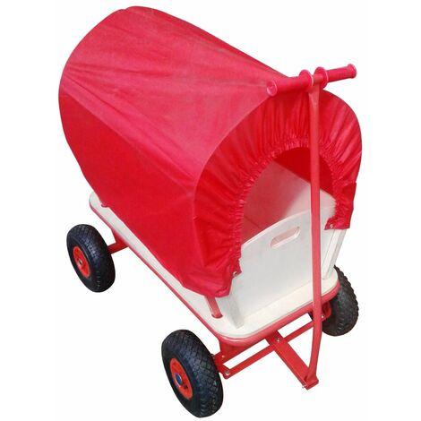 Varan Motors - TC1812M Carrito vagón para niño, carrito de transporte de madera con lona, carga 180Kg máx.