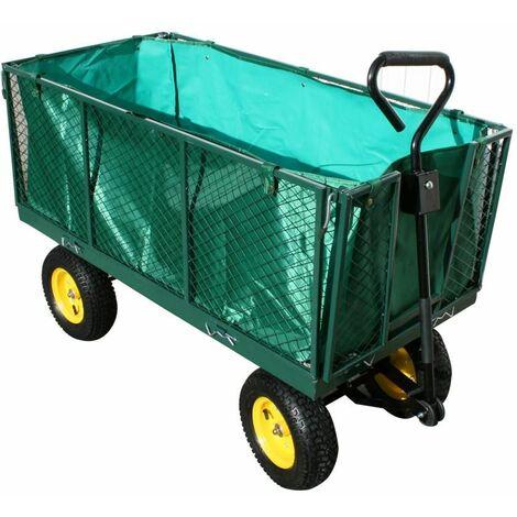 Varan Motors - TC1840 Carro de mano XXL con lona interior carretilla de mano de jardin construccion max 600Kg - Verde