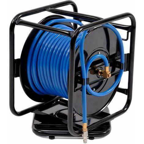Varan Motors - var-AHR-01 Dévidoir - Enrouleur de tuyau pneumatique portable en acier 30m 12bar Rotation à 360° - Bleu
