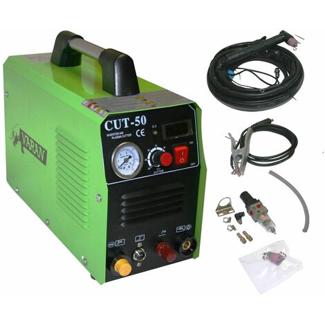 Varan Motors - var-cut50PILOT Cortadora plasma portátil 50A Convertidor CUT-50 + manómetro + función PILOTO ARC - Verde