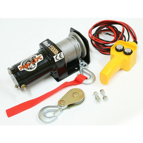 Varan Motors - var-p1500-1 Cabrestante eléctrico 12V 680/1360KG 520W, cable de 15m Ø 4mm + Mando - Noir