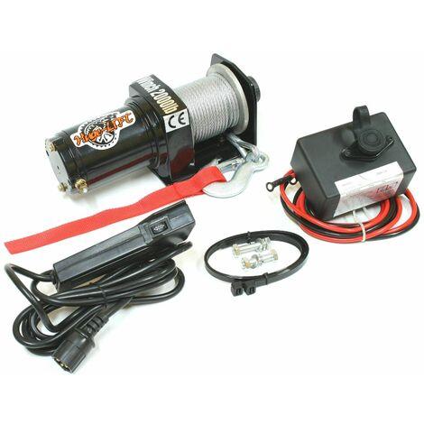 Varan Motors - var-p2000-1a Treuil électrique 12V 907Kg / 1814Kg 700W, Treuil à câble longueur 15m Ø4mm - Noir
