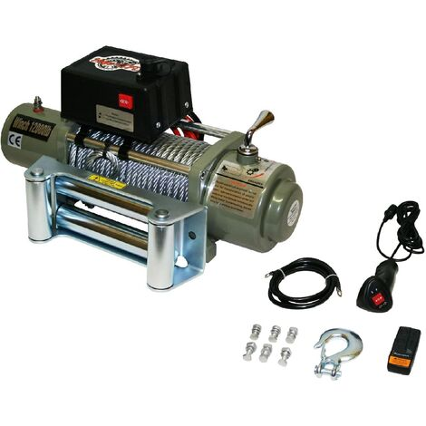 Varan Motors - var-sc12000LB ELECTRIC WINCH 4X4 12000LBS 4200W 6,6HP MOTOR 28M LENGTH Ø9,4MM REMOTE CONTROL