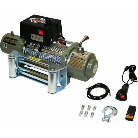 Varan Motors - var-sc12000LB Treuil électrique 12V 5443KG 4800W, Treuil à câble longueur 28m Ø9.4mm - Gris