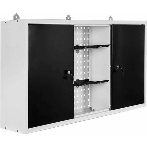 Varan Motors - WE-1 Armoire à outils suspendue, armoire d'atelier 120x60x19cm armoire murale - Gris