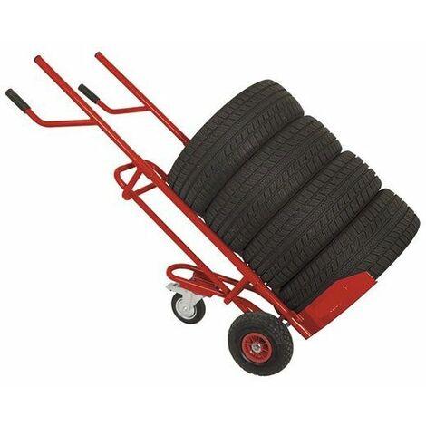 Varan Motors - WHEEL-TRL Chariot de transport de pneu - Diable pour pneus, roues, charge jusqu'à 150Kg - Rouge