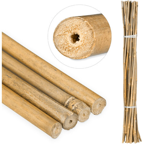 Varas de Bambú, Tutores para Plantas, Bambú Natural, 105 cm, Color natural