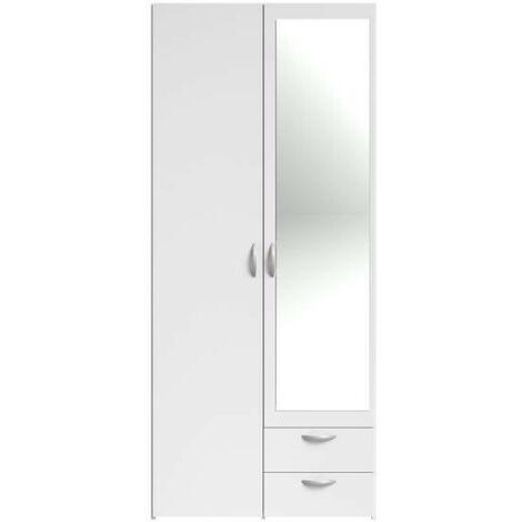 VARIA Armoire 2 portes miroir décor blanc - L 81 x P 51 x H 185 cm