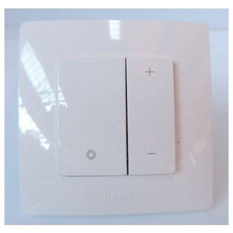 Variateur blanc 2 fils 400W (toutes sources) manettes à poussoir Eco complet avec plaque Niloé LEGRAND 096520