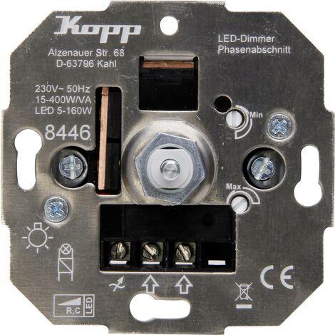 Variateur encastré Kopp 844600004 Adapté pour ampoule: Ampoule électrique, Lampe halogène, Lampe LED 1 pc(s) R223841