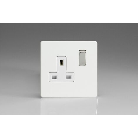 Varilight 1-Gang 13A Double Pole Switched Socket with Metal Rockers - XDQ4WS