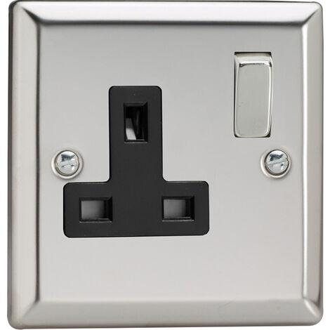 Varilight 1 Gang Single, 13 Amp Switched Socket, Classic Polished Chrome - XC4DB