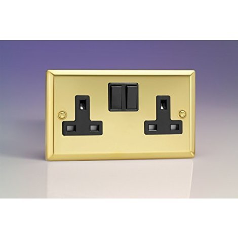 Varilight 2 Gang 13a Double Pole Switched Plug Socket Victorian