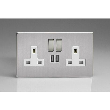 Varilight 2-Gang 13A Double Pole Switched Socket with Metal Rockers + 2 5V DC 2100mA USB Charging Ports - XDS5U2SWS