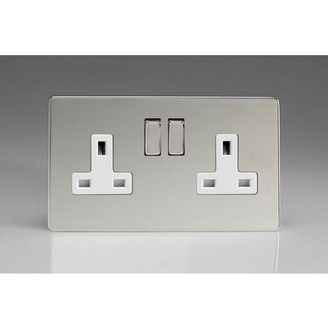Varilight 2 Gang 13A Double Pole Switched Socket with Metal Rockers - XDC5WS