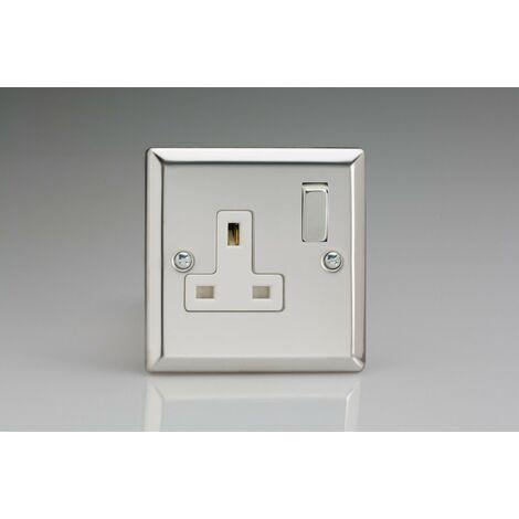 Varilight Classic 1 Gang Double Pole Socket With Metal Switch Rocker (Single XC4DW)-Polished Chrome - XC4DW