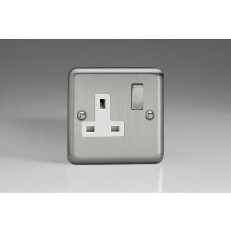 Varilight Classic 1 Gang Switched Socket with White Insets (Single XS4DW) - Matt Chrome - XS4DW