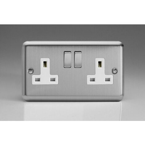 Varilight Classic 2 Gang Switched Socket with White insert (Double XS5DW) - Matt Chrome - XS5DW