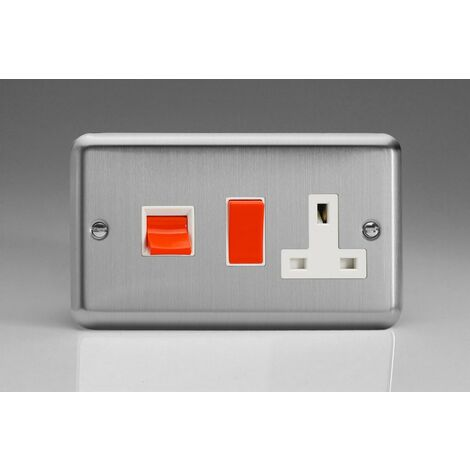 Varilight Classic 45A Cooker Panel with 13A Switched Socket with White Inserts - Matt Chrome - XS45PW
