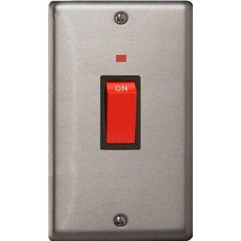 Varilight Classic Cooker Switch + Neon Vertical Twin Plate with Black Inserts - Matt Chrome - XS45NB
