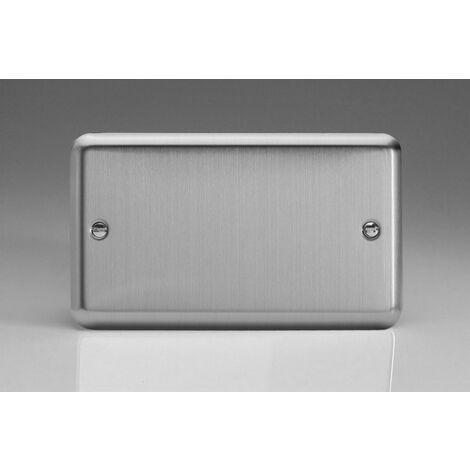 Varilight Classic Double Blank Plate with Black Inserts (Double XSDB) - Matt Chrome - XSDB