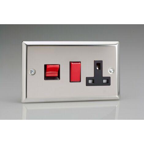 Varilight Classic Double Pole Switch & Socket (Double XC45PB) Black Inserts - Polished Chrome - XC45PB