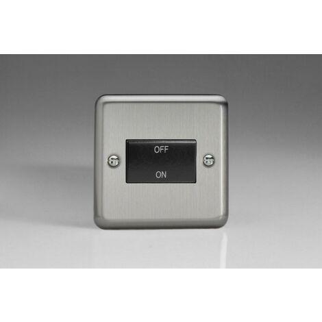 Varilight Classic Fan Isolating Switch 3 Pole with Black Inserts - Matt Chrome - XSFIB