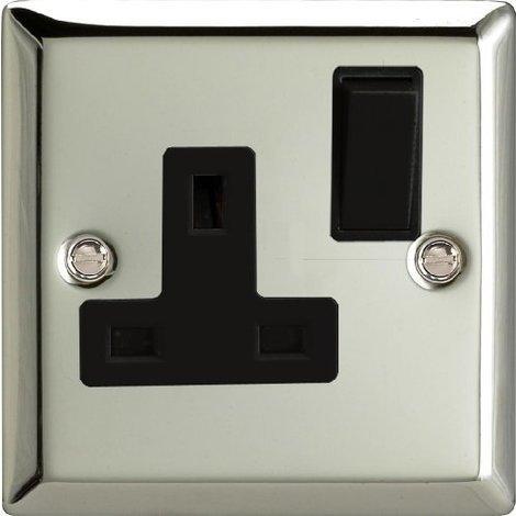 Varilight Classic Mirror Chrome 1 Gang 13a Switched Socket Black