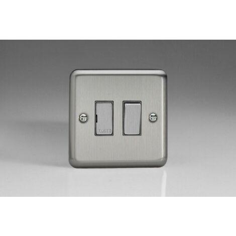 Varilight Classic Switch Fused Spur with Decorative Insert (Single XS6D) - Matt Chrome - XS6D