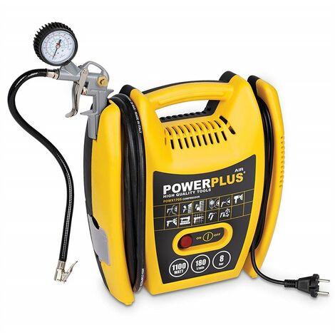 Varo POWX1705 - Compresor de aire a presión portátil (1100 W, máximo 8 bar, incluye accesorios)