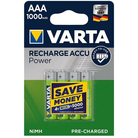 Varta Recharge Accu Power piles AAA 1000 mAh Ready To Use 4 pièces dans blister