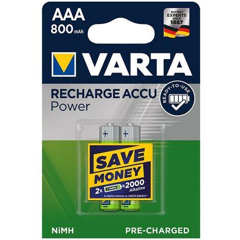 Varta Recharge Accu Power piles AAA 800 mAh 2 pièces dans blister (DECT téléphone)